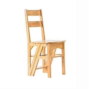 QFFL tideng Taburete plegable Taburete de escalera de madera ...