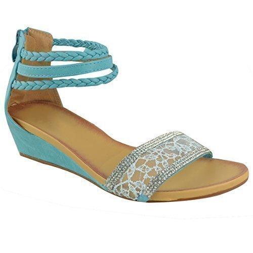 Bajo consumo de mujer sandalias de cuña de correa de tobillo con diamantes de imitación Azul Piel Sintética