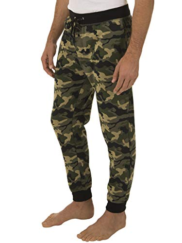 Fruit of the Loom Signature Men's Poly-Rayon Double Knit Jogger Sleep Pant, Camo, 3XL (Mens Dc Sweatpants)