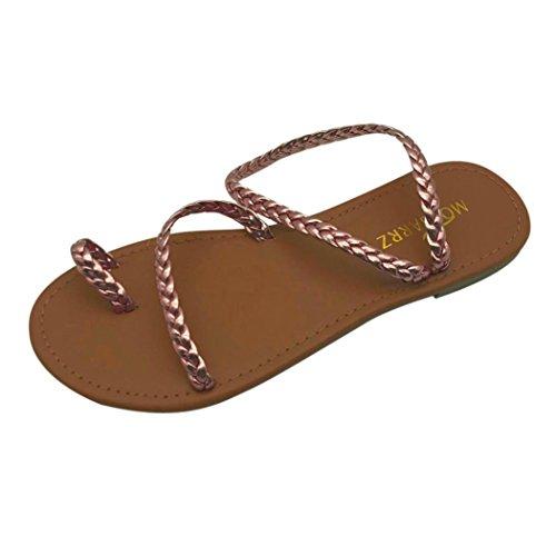Longra 2018 Women's Summer Sandals,Spring Ladies Cross Strap Roman Sandal Low Flat Heel Fashion Beach Shoes Strappy Sandal Gold
