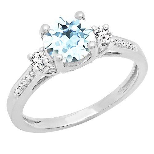 Dazzlingrock Collection 18K 7 MM Round Aquamarine, White Sapphire & Diamond Ladies Engagement Ring, White Gold, Size 7 ()