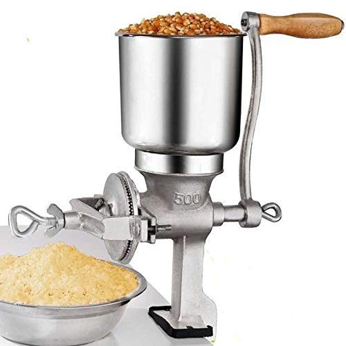 Hand Operated Corn Grain Mill Grinder Useful Kitchen Tool with Big Hopper - Adjustable for Corn, Coffee. Food, Wheat, Oats, Nut, Herbs, Spices, Seeds Grinder - Great for Restaurants, Commercial Kitchens, Bakery, Home Cook