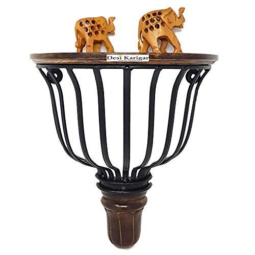 Desi Karigar® Wooden  amp; Heavy Wrought Iron Big Wall Bracket, Book Shelf D Shape