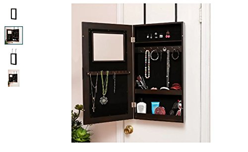 Ebern Designs Anya Wall Mount Jewelry Armoire With Mirror, 8 Pocket Organized Storage Space With Vanity Mirror, Comes In An Espresso Brown Finish & 2 Easy Ways To Install