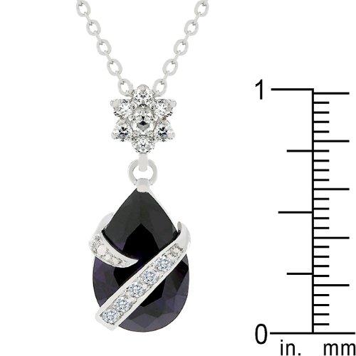 FB Jewels Solid Wrapped Amethyst Purple Cubic Zirconia Pendant