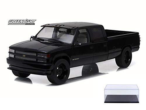(Diecast Car & Display Case Package - 1997 Custom Chevy C-3500 Crew Cab Silverado Pickup Truck, Black - Greenlight 19016 - 1/18 Scale Diecast Model Toy Car w/Display Case)