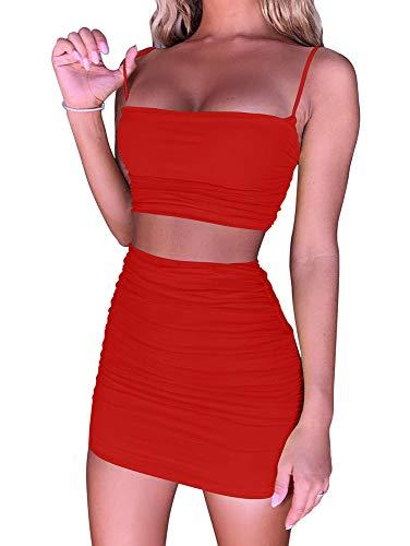 BEAGIMEG Women's Ruched Cami Crop Top Bodycon Skirt 2 Piece Outfits Dress - Cami Piece Top 2