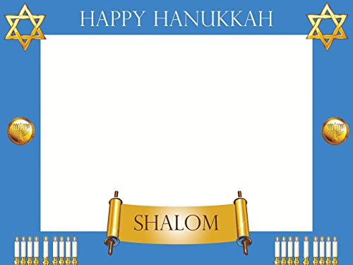 Large Custom Happy Hanukkah Photo Booth frame Prop - sizes 36x24, 48x36; Personalized Holiday photo booth, Hanukkah Decorations, Hanukkah Gift, Hanukkah photo props Handmade Party Supply Photo Booth ()