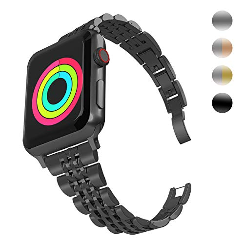 Aizilasa Band Compatible with Apple Watch 44mm 40mm Series 4, iWatch 38mm 42mm Series 3 2 1 for Women Men Stainless Steel Bracelet Adjustable Metal Strap Wristbands (Black-38mm/40mm)