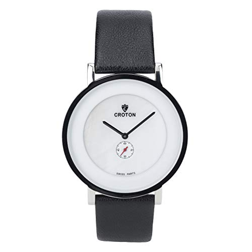 CROTON Men's Ultra Thin Stainless Steel Quartz Watch with Leather Strap, Black, 19.7 (Model: CN307576SSMP)