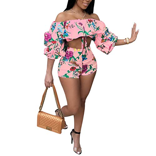 (Women's 2 Piece Off Shoulder Ruffled Print Floral Smocked Crop Top and Shorts Set Pink)