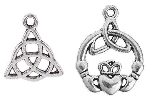 Celtic Charms, 100 pc (50 of Each) Antiqued Silver Tone Pendants, Triquetra Knot and Claddagh