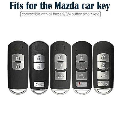 Lcyam Tpu Key Fob Case Cover Glossy with Carbon Fiber Pattern Fits for CX-5 CX-3 CX-4 MX5 CX7 CX9 Mazda 2 3 5 6 8 Push Button Start Keyless Smart Key (Pink): Automotive