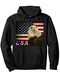American Bald Eagle Retro Flag USA Text Hoodie, Patriotic