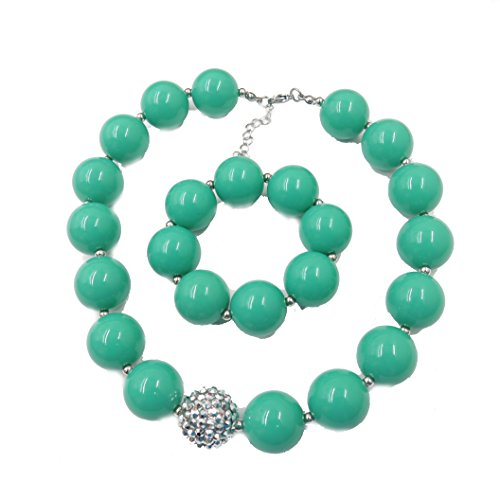 (Handcraft green chunky bubblegum beads Turquoise necklace and bracelet set gift for kids girls)