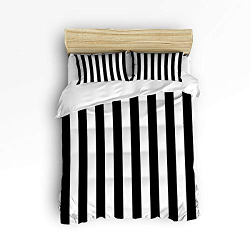 - YEHO Art Gallery , Classic Black and White Stripe Pattern Cute 3 Piece Duvet Cover Sets for Boys Girls, Cute Decorative Bedding Set Include 1 Comforter Cover with 2 Pillow Cases King Size