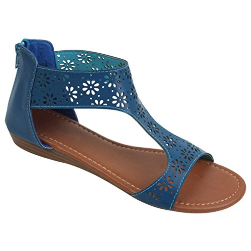 S81003B Women's Sandals Roman Gladiator Flats Flower Hollow Perforated Back Zipper Shoes 4 Colors (11 B(M) US, Navy)
