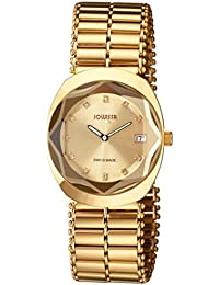 Jowissa Womens J4.023.L Como Gold Dial Gold Ion-Plated Stainless Steel Date Wristwatch