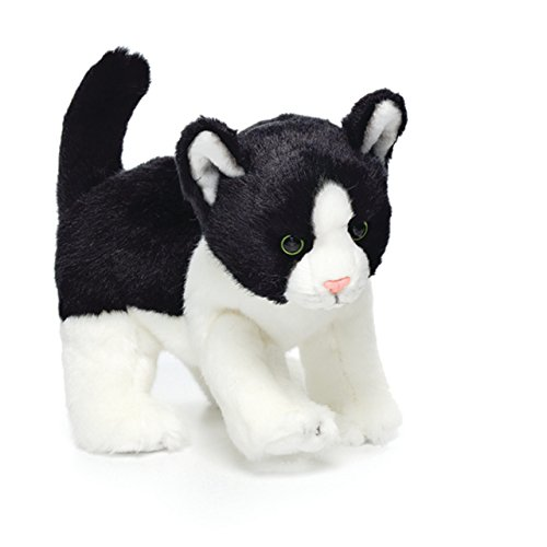Nat and Jules Pouncing Small Cat Children's Plush Stuffed Animal Toy Blue Eyed White Cats