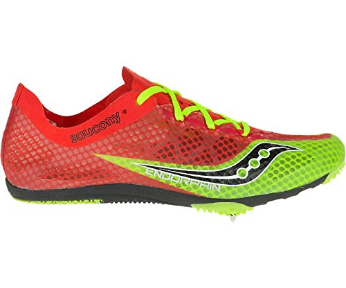 Saucony Men's Endorphin Track Spike Racing Shoe, Red/Black/Citron, 11 M US