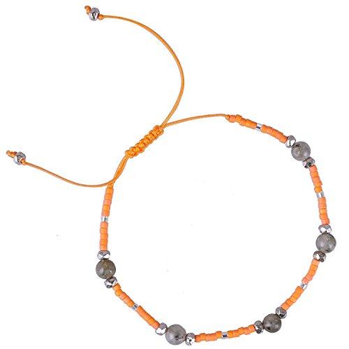 KELITCH Multicolor Shell Pearl Beaded Friendship Bracelets Hand Woven Wrap Charm Bangle Jewelry (Orange)