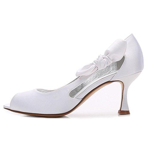 Las Zapatos de Bajo Señoras Por de Encargo Corte Mujeres Trabajo L de Elegante Oficina de Boda Tacones YC del White de Las Zapatos 21 E17061 Talón de g5vxXf