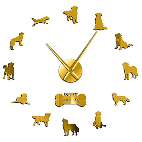 Toller Dog Giant DIY Wall Clock Nova Scotia Duck Tolling Retriever Dog Breed Self Adhesive 3D DIY Wall Watch with Mirror Surface