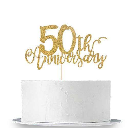50th Anniversary Cake Topper, Gold Glitter 50th Wedding Birthday Cake Decorations