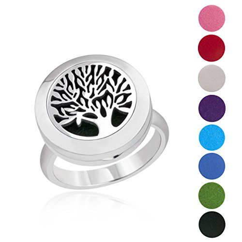 (BESTTERN Essential Oil Diffuser Ring - 20mm Stainless Steel Aromatherapy Ring/Band with 8 Color Felt Pad, Oil Diffuser Jewelry for Women, Tree of Life (Size 8))