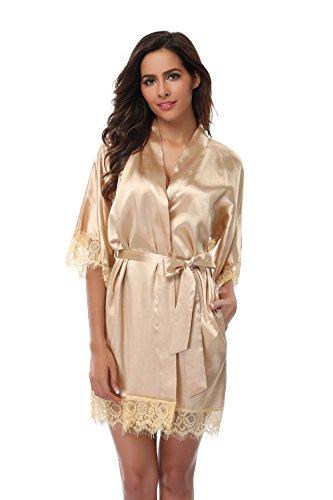 Champagne Lace Bridal Shop (VogueBridal Women's Short Kimono Robe With Lace Trim, Champagne XL)