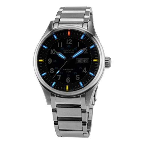 EPOCH 7009G waterproof 100m tritium gas blue luminous steel strap mens business automatic mechanical watch (Watch Epoch)