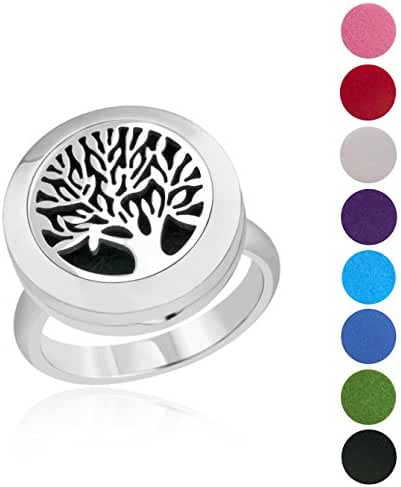BESTTERN Tree Of Life Essential Oil Diffuser Locket(20mm) Ring/Carving Aromatherapy Stainless Steel