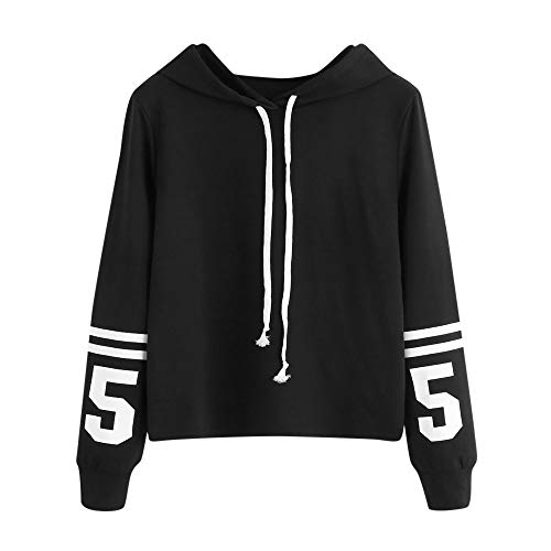 LISTHA Letters Hoodie Women Crop Tops Long Sleeve Hooded Sweatshirt Pullover ()