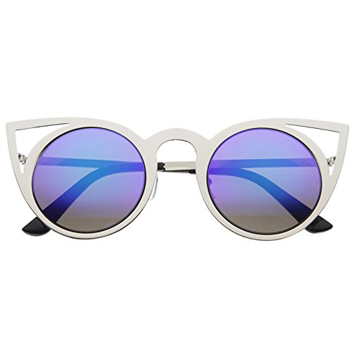 zeroUV - Womens Fashion Round Metal Cut-Out Flash Mirror Lens Cat Eye Sunglasses (Silver / Green Blue - Sunglasses And Green Blue
