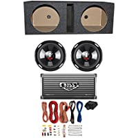 BOSS Audio 2 Boss P106DVC 10-Inch 4200W Subwoofers with Ported Box with 2-Ch Amp with 8 Gauge Amp Kit (Pair)
