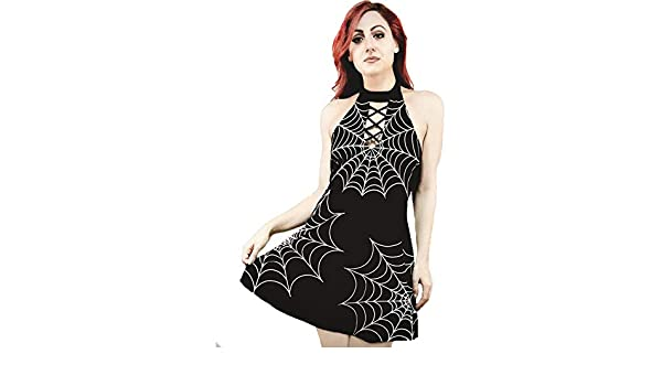 6d016d2dda Amazon.com  Rat Baby Tangled Web We Weave Spiderweb Choker Skater Dress  Black  Clothing
