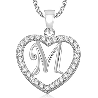 buy meenaz silver plated m letter pendant with chain for unisex