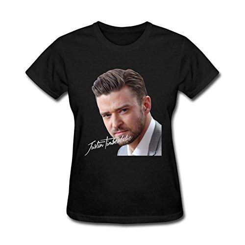 Liyo Woman Justin Timberlake T-shirt Black - Timberlake Clothes Justin