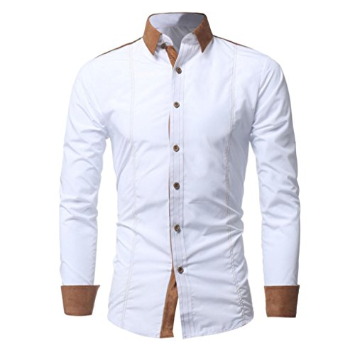 iLXHD Men Shirt Fashion Solid Color Male Casual Long Sleeve Shirt(White ,2XL) by iLXHD (Image #4)