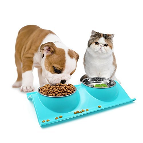 HTKF-US Dog Cat Bowls, Double Bowls Stainless Steel Bowls Non-Skid Anti-Spill Pet Feeding Station Removable Premium Pet Food Water Feeder Perfect for Dogs and Cats (Blue)