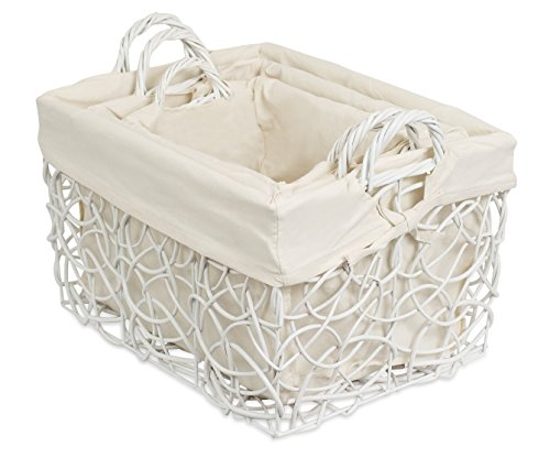 Wicker Baskets Liners (BirdRock Home Decorative Willow Basket Set with Liner | Set of 3 | Double Handle Wooden Basket | Rectangular Wicker Storage Bin | White)