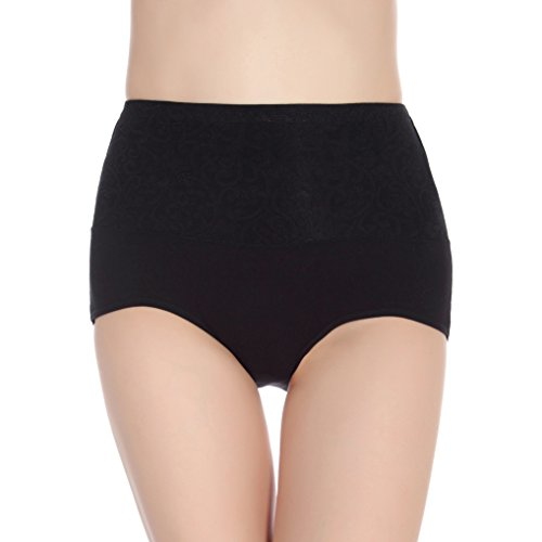 CS&BEAUTY Women's Premium Cotton Lace Hi Cut Panty Underwear,3 Pack,L/XL (XL, Black)