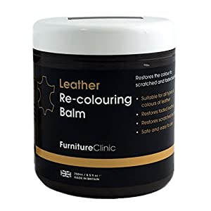 Furniture Clinic Leather Re-Coloring Balm – Renew and Restore Color to Faded and Scratched Leather | For Furniture, Cars and Clothing 8.5 Fl. Oz. (250ml) (Dark Brown)