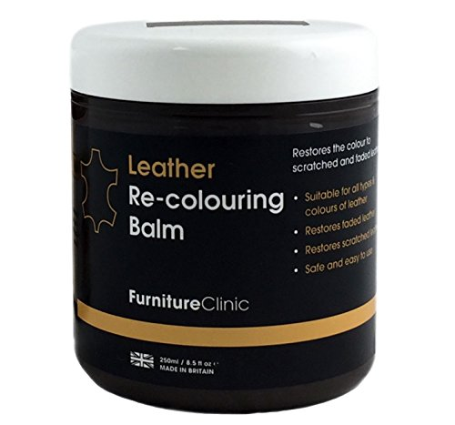 Furniture Clinic Leather Re-Coloring Balm – Renew and Restore Color to Faded and Scratched Leather | For Furniture, Cars and Clothing 8.5 Fl. Oz. (250ml) (Black) - Rub Off Black Leather Boots
