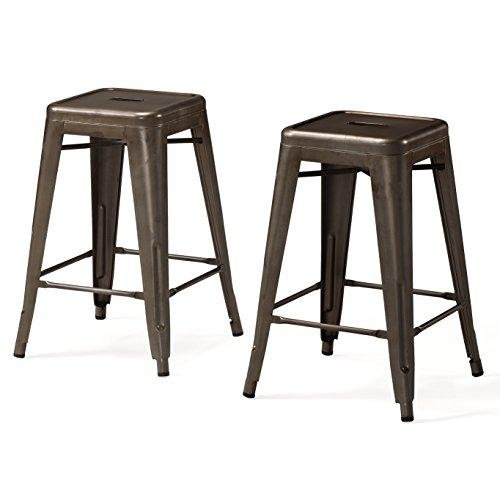 Set of 2 Bronze French Bistro Tolix Style Metal Counter Stools in Glossy Powder Coated Finish – Includes Modhaus Living (TM) Pen For Sale