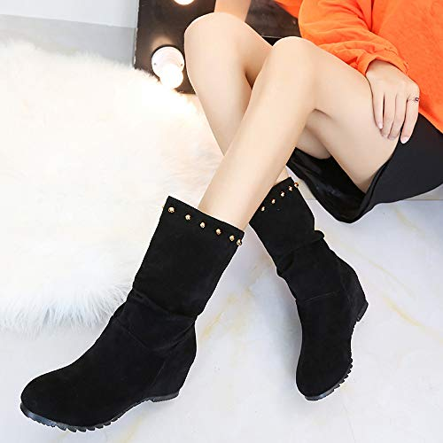 Booties Pure Shoes Keep Warm Round Rivets Wedges Brown Suede Red 35 43 Black JERFER Shoes Shoes Toe Color Women Black XzYnqAwF8x