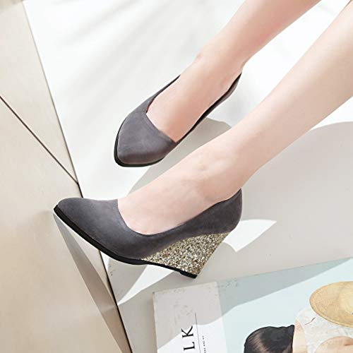 Zapatos Wild tacón zapatos Yukun Trabajo De Gray Zapatos Zapatos De Baja Boca de Cuñas Altos Tacones De Otoño Gran De Frosted Mujer De Apuntados Lentejuelas Tamaño Individuales alto dRxIRnw