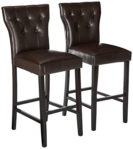 (Christopher Knight Home 296642 Pierre Bonded Leather Barstool, Set of 2, Brown)