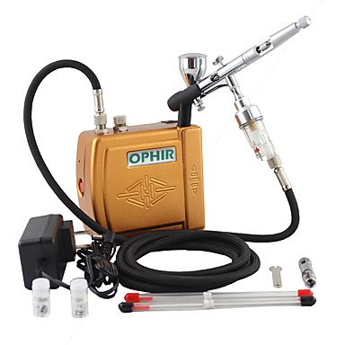 WST 3 Tips Dual Action Airbrush Kit 12V Golden Mini Airbrush Compressor Nail Art Cake