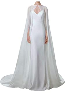 ShineGown Cloak for Women White Long Bridal Wraps Wedding Cape Chiffon Party Scarves
